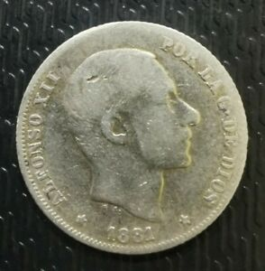SPAIN-PHILIPPINES-1881-ALFONSO-XII-20-CENTAVOS