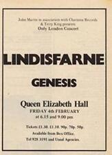 Lindisfarne Genesis Queen Elizabeth Hall concert advert Time Out cutting 1972