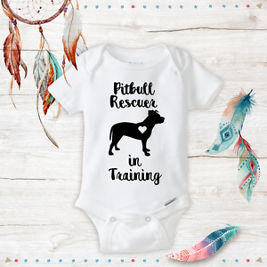 Pitbull Rescuer In Training Onesies Baby Clothes Outfit Unisex Gifts Newborn