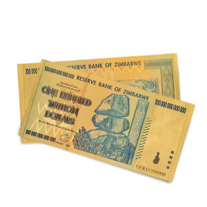 Details about Gold Foil Zimbabwe 100 Trillion Dollars Banknotes Money  Collection Non Currency