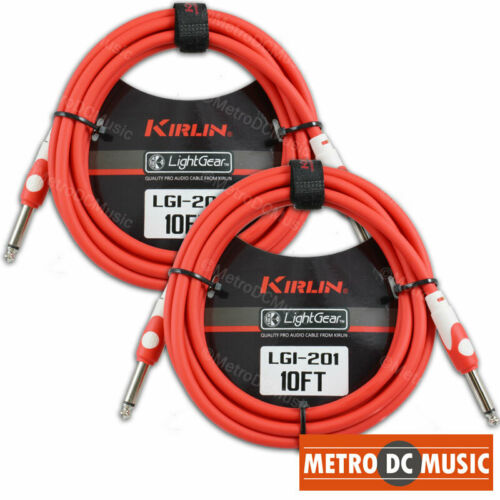 2-Pack Kirlin 10 ft LightGear RED Guitar Instrument Patch Cable Cord 1//4 20AWG