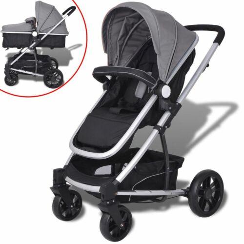 2-in-1 Buggy//Kinderwagen Aluminium grau und schwarz X2H3