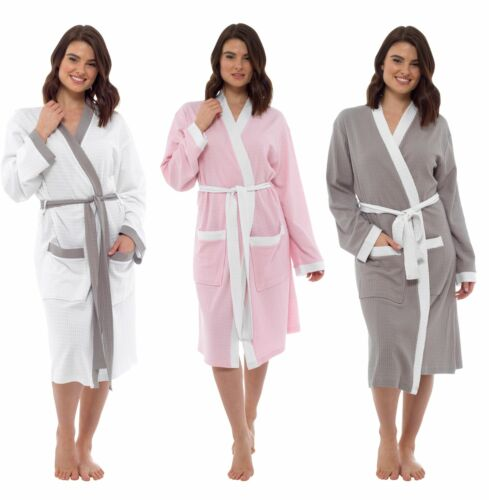 Ladies Contrast Waffle Robe 100/% Cotton Dressing Gown Size 8-18 LN547