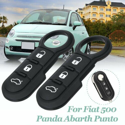 Pair 3 Button Rubber Pad Remote Fob Key Replace For Fiat 500 Panda Abarth Punto