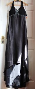 XCite-Women-039-s-Black-Beaded-Halterneck-Prom-Evening-Dress-Size-10-New-NWT