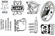Teacher Stamps UNmounted Rubber Stamps Good, Creative, Messy, Star work, Do Over