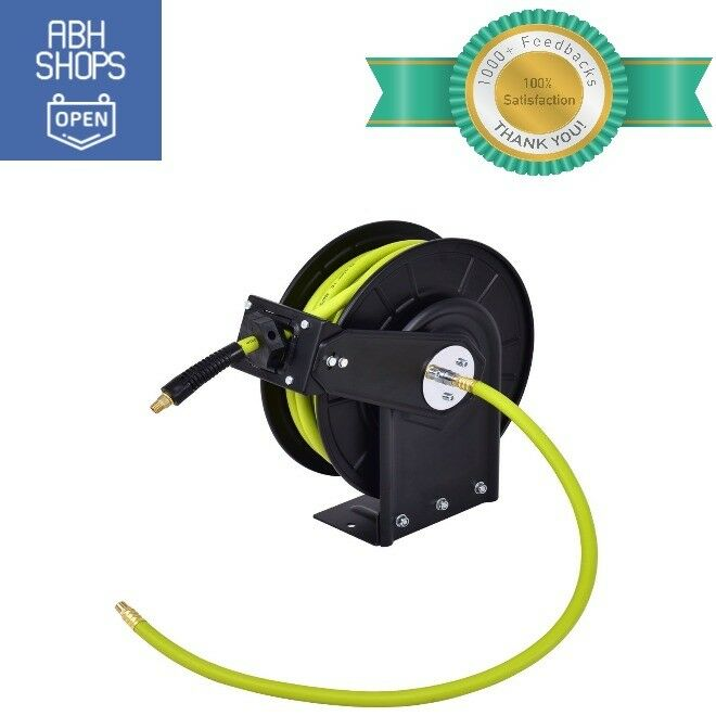 Air Compressor Hose Reel Retractable 3 8 In 50 Ft Rubber Grün 1 4 NPT Fittings