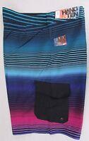 Hang Ten Men's Super Stripe Cargo Board Shorts Swim Swimsuit Black Blue 38