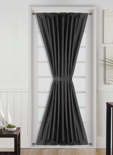 """1PC LINED SOLID BLACKOUT ROD POCKET WINDOW//DOOR PANEL WITH TIBACK 55/""""X72/"""" DAYSI"""