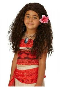 Disney Moana Wig  Kids Moana Wig   Long Brown Wig with Flower Moana Costume Wig