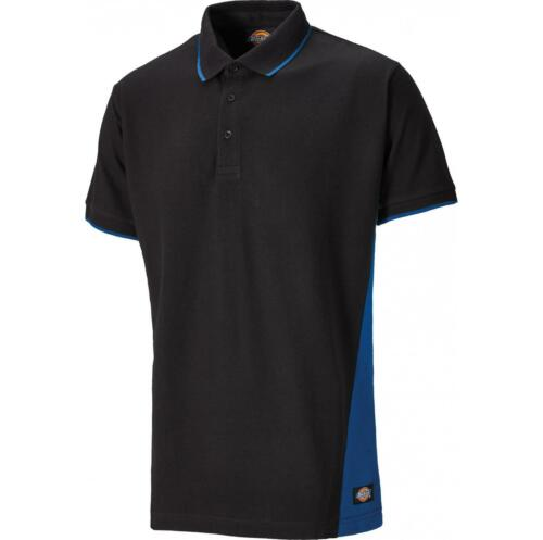 Dickies Two Tone Polo Shirt T-Shirt Panelled Short Sleeve Workwear Navy//black