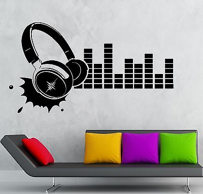 Wall Sticker Vinyl Decal Headphones Sound Music Night Club Party (ig2204)