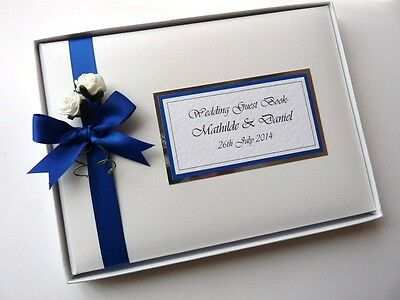 PERSONALISED WEDDING GUEST BOOK WITH ROSES (ROYAL BLUE) - ANY COLOUR