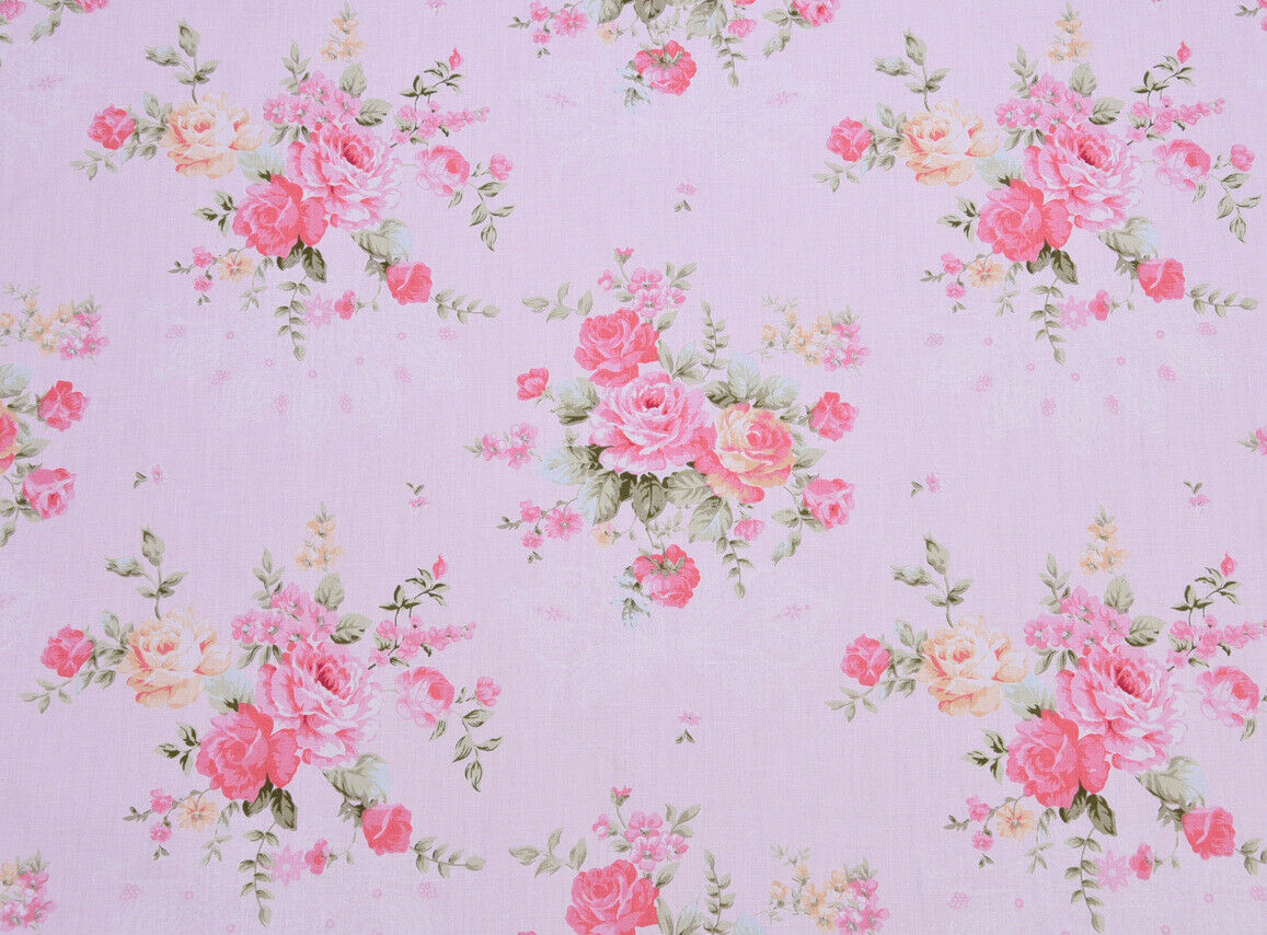 Wallpaper By The Yard Shabby Chic Pink Cottage Rose Floral On