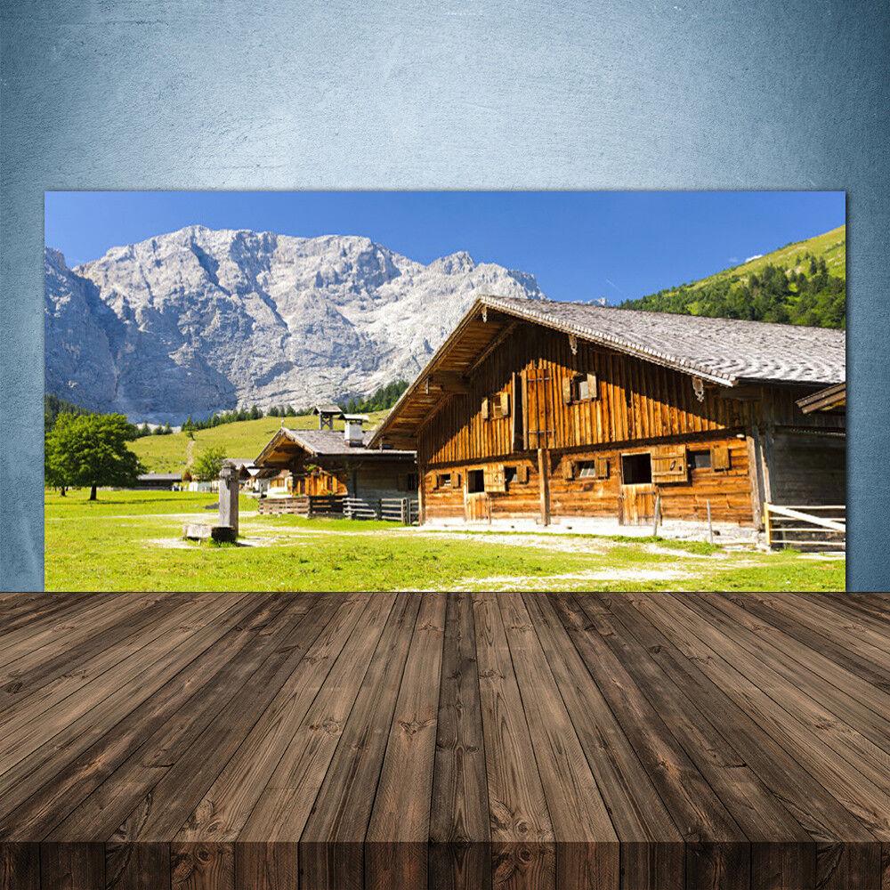 Crédence de cuisine en verre Panneau 140x70 Paysage Maison Montagnes