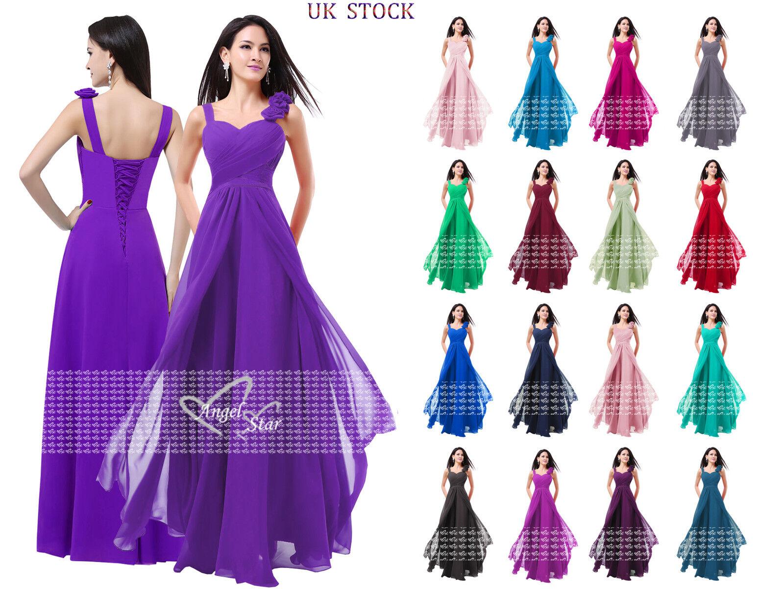 Nouveau formelle mousseline longue soirée robe de bal Parti Bal Mariage demoiselle d'honneur Robe UK