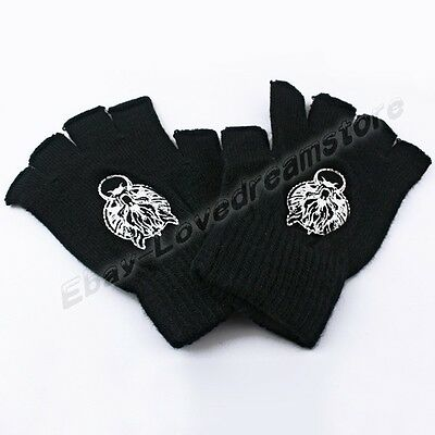 Final Fantasy Wolf Head Half Finger Wool Knit Gloves Cosplay