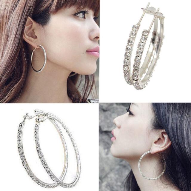 Fashion Women Silver Plated Diamante Crystal Rhinestone Hoop Round Earring