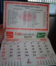 Schöner alter Coca-Cola Kalender 1978 / 79 USA Calendar Coke add life to Sports