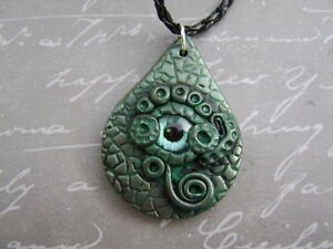 Details About Handcrafted Dragons Eye Pendant Green Polymer Clay Made In The Ukgift Idea