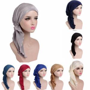 Women-Pre-Tied-Head-Carf-Ruffle-Headwear-Chemo-Hat-Turban-Bandana-Head-Scarf-UK