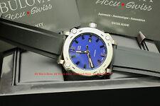 63B190 Bulova Accu-Swiss Percheron Automatic Blue Dial Black Rubber Strap Watch