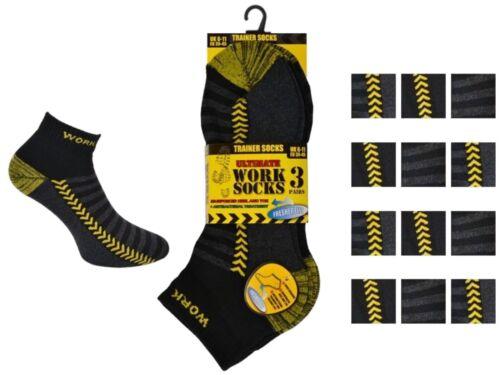 6 Mens Erbro® Workwear Cotton Rich Trainer Crew Ultimate Work Socks UK 6-11