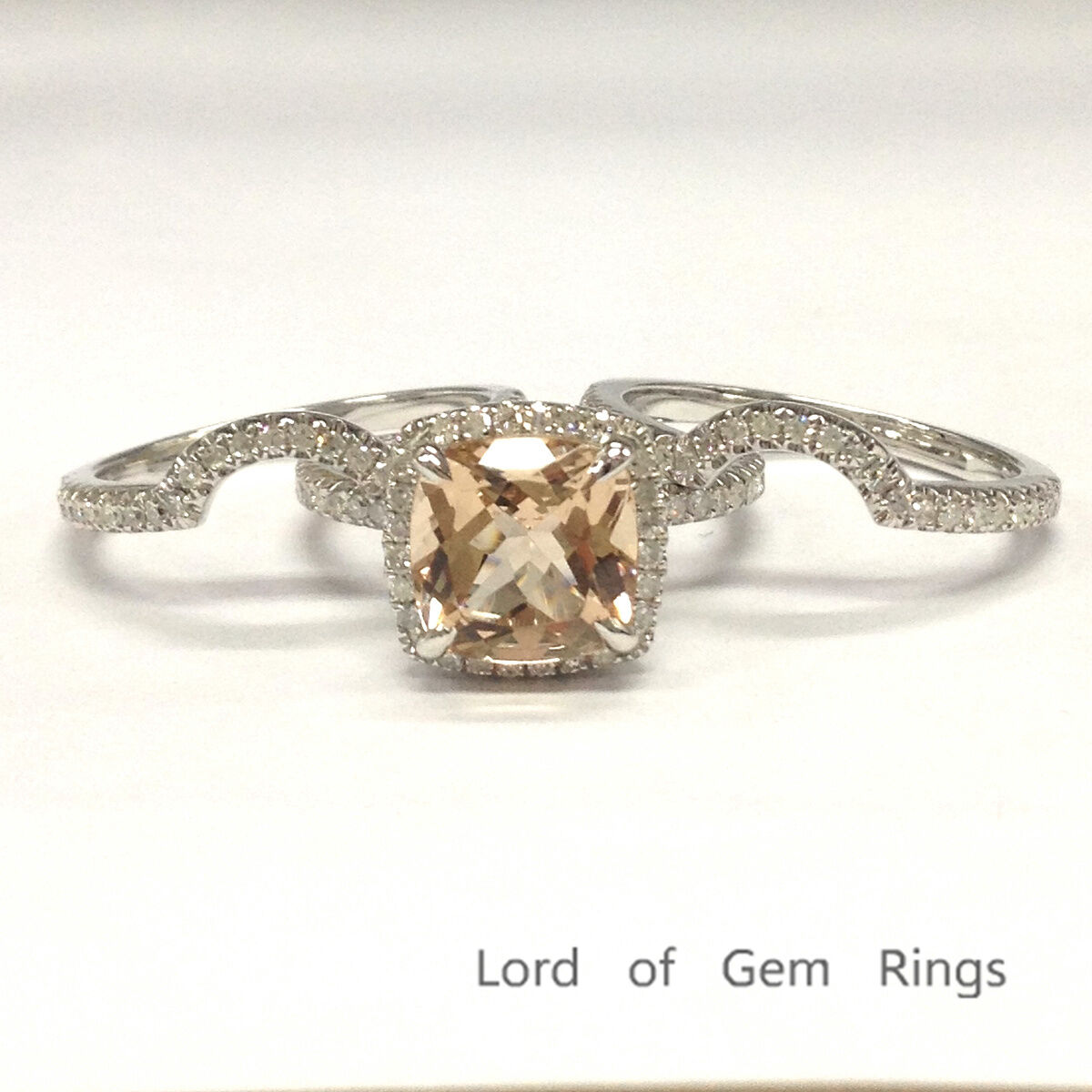 5014294e9a995 Diamonds Morganite Cut Cushion Set Ring 3 Engagement Wedding gold ...