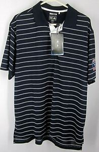 ADIDAS-CLIMACOOL-NWT-MEN-039-S-L-Polo-Rugby-Golf-Shirt-Short-Sleeve-Stripe-Black