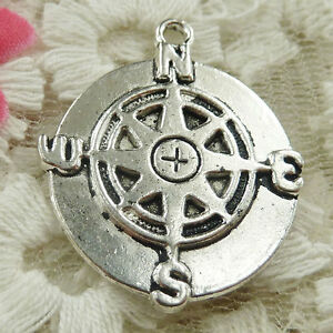 #4645 Free Ship 20 pcs Antique silver compass charms 30x25mm