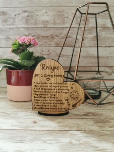 Corazón De Regalo Personalizado Niñera receta Stand Up placa Loving niñera cualquier nombre Nan