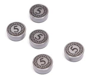 LEGO-5-x-Fliese-1x1-rund-in-flat-silber-bedruckt-mit-5-98138pb023-NEUWARE