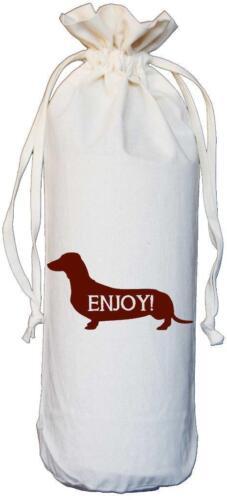 Dachshund Dog Enjoy Natural Cotton Drawstring Wine Bottle Bag Sausage Dog