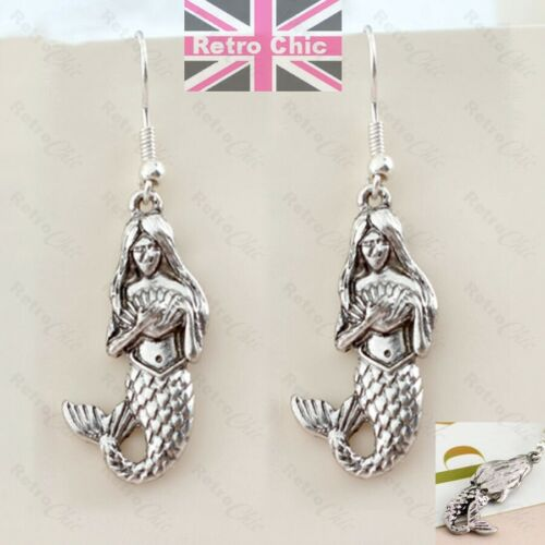 3D MERMAID drop EARRINGS antique silver plated RETRO QUIRKY KITSCH charms fish