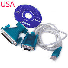 USB 2.0 to Serial DB 9 Pin RS232 Cable+ 25 Parallel Adapter Connector Windows 7