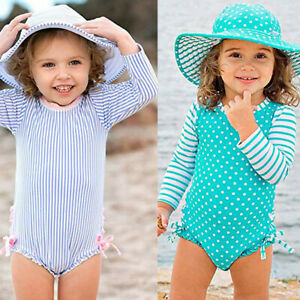 Toddler-Kids-Baby-Girl-Dot-Striped-Swimsuit-with-Sun-Protection-Swimwear