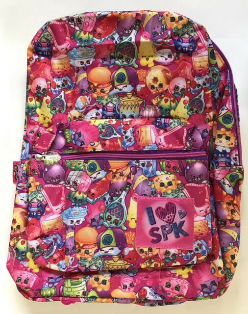 "I Love SPK Shopkins 16/"" Backpack School Book Bag Tote Full Size NWT"