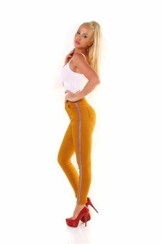 5885 Knackige Damen Hose Leggings Treggings Stretch Slimfit High-Waist Streifen