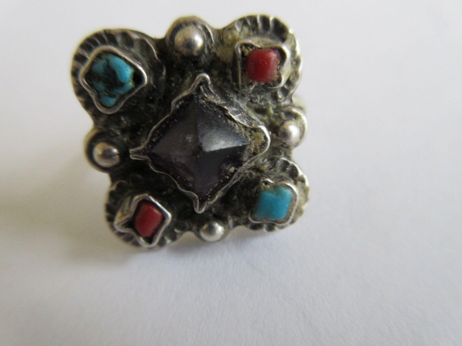 Ladies Ring , 5 Multicolor Stones , Silver Plate , Uniq