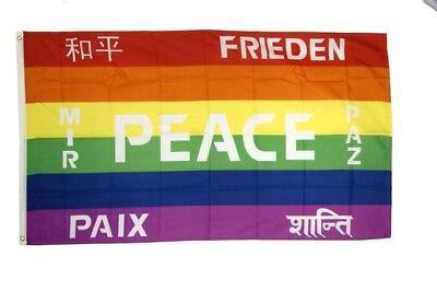 Regenbogen mit PEACE Banner Friedens Fahnen Flaggen 30x45cm