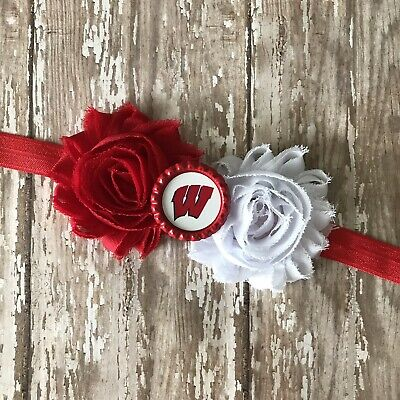 Wisconsin Badgers elastic infant or adult sized headband bow toddler