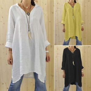 ZANZEA-8-24-Women-Long-Sleeve-Top-Blouse-Shirt-Tee-Tunic-Plain-Short-Shift-Dress