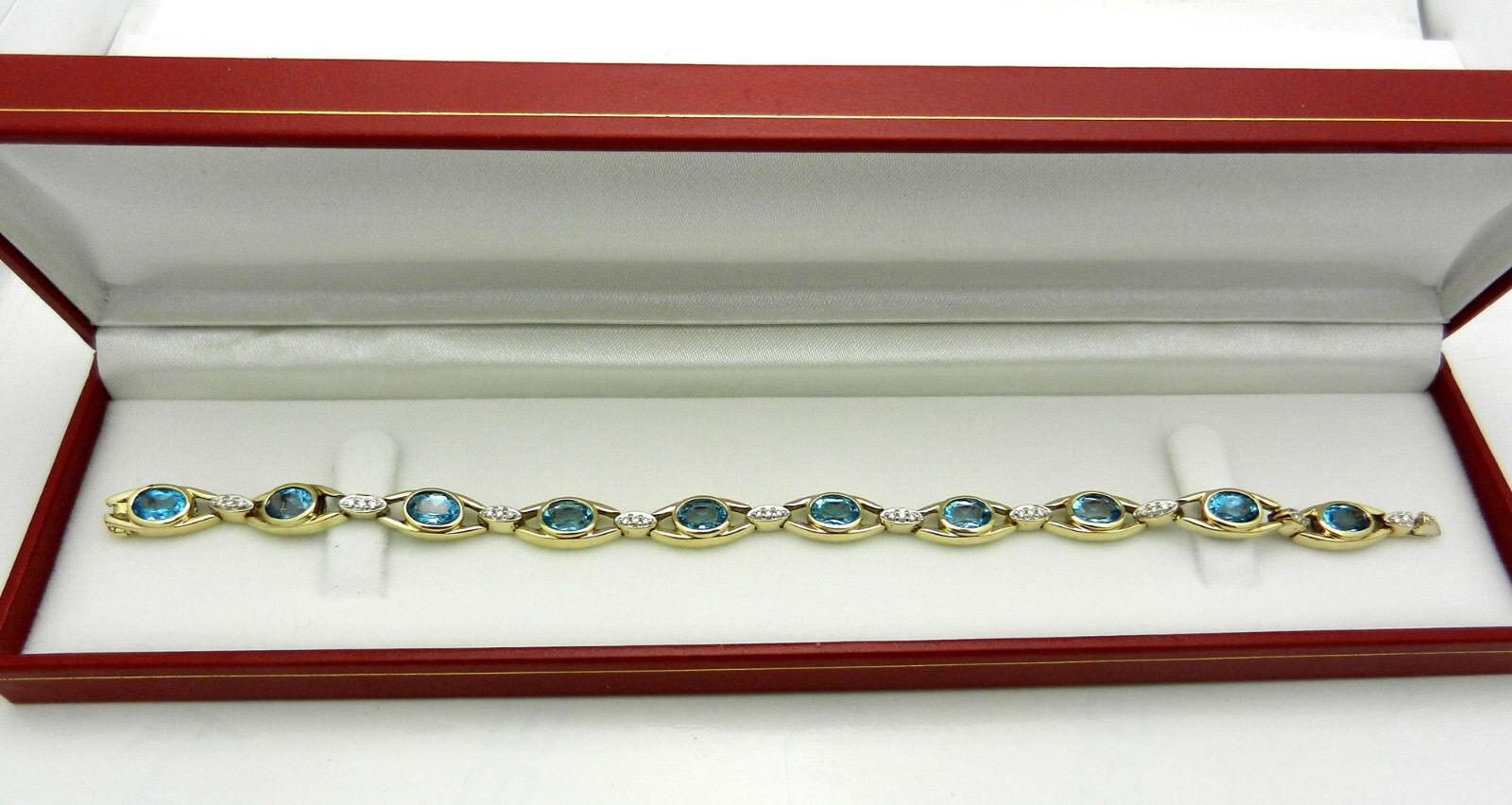 Estate 14k Yellow gold bluee Topaz Tennis Bracelet with Diamond Accent 17.6 gr