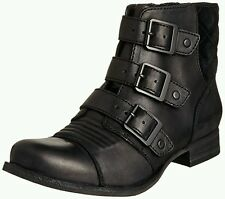 Clarks Ladies Ladbroke Tango Black Leather Biker Ankle Boots Size 4.5/37.5