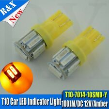 2PCS Yellow Amber LED T10 7014 10 SMD LED Side Wedge Light Bulb T10 194 168 W5W