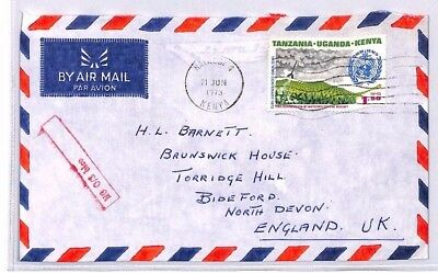 Xx213 1973 Kenya Nairobi Airmail Cover Unusual Red Framed Cachet See Scans