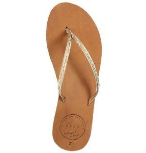 674e4ee4286950 Reef LEATHER UPTOWN BRAID Champagne Tan 1216 Flip Flops Women s ...