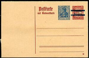 BAVARIA-RED-10pfg-MINT-REPLY-POSTCARD-BAR-RE-IMPRINTED-GERMANY-GERMANIA-30-pfg