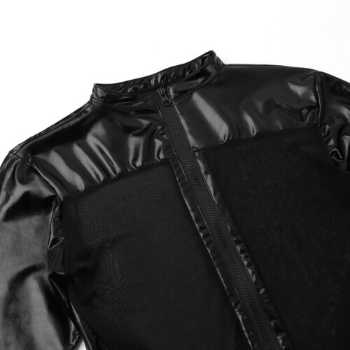Mens PVC Leather Catsuit Zipper Mesh Leotard Underwear Bodysuit Clubwear Costume
