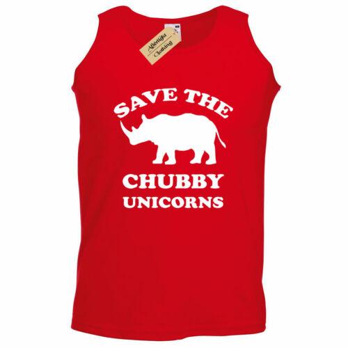Mens Save The Chubby Unicorns Funny rhino gift unicorn Tank Top Vest